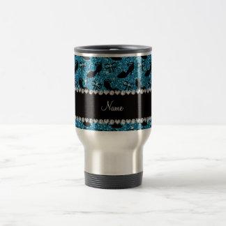 Personalized name sky blue glitter fancy shoes bow travel mug
