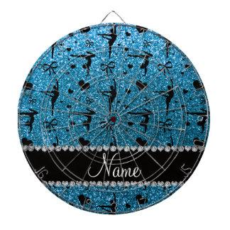Personalized name sky blue glitter gymnastics dartboard