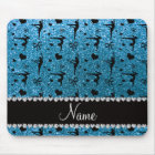 Personalized name sky blue glitter gymnastics mouse pad