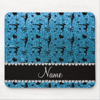 Personalized name sky blue glitter gymnastics mousepad