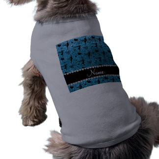 Personalized name sky blue glitter gymnastics pet t-shirt