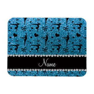 Personalized name sky blue glitter gymnastics rectangular photo magnet