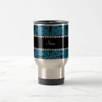 Personalized name sky blue glitter gymnastics travel mug