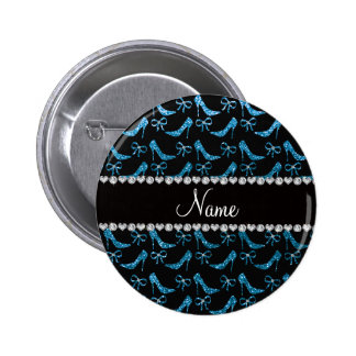 Personalized name sky blue glitter high heels bow pin