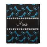 Personalized name sky blue glitter high heels bow iPad folio covers