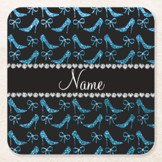 Personalized name sky blue glitter high heels bow square paper coaster