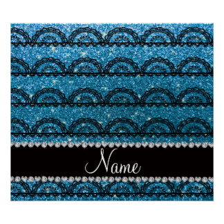 Personalized name sky blue glitter lace posters