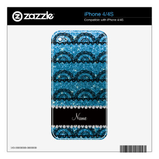 Personalized name sky blue glitter lace skins for the iPhone 4S