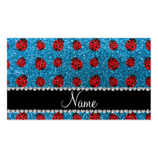 Personalized name sky blue glitter ladybug business card