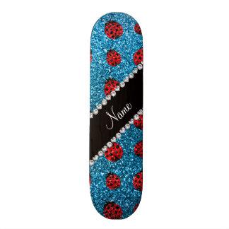 Personalized name sky blue glitter ladybug skateboard deck