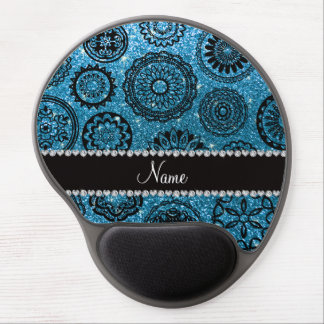 Personalized name sky blue glitter mandalas gel mouse pad