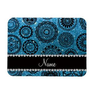 Personalized name sky blue glitter mandalas magnet