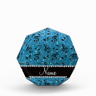 Personalized name sky blue glitter music notes award