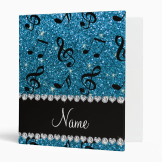 Personalized name sky blue glitter music notes binder
