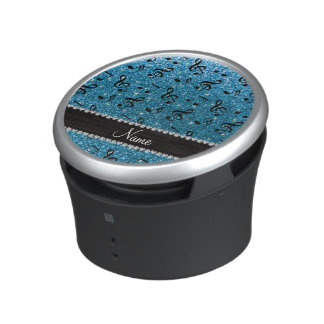 Personalized name sky blue glitter music notes bluetooth speaker