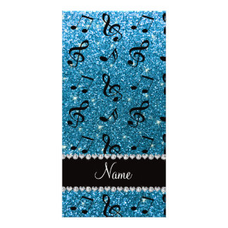 Personalized name sky blue glitter music notes card