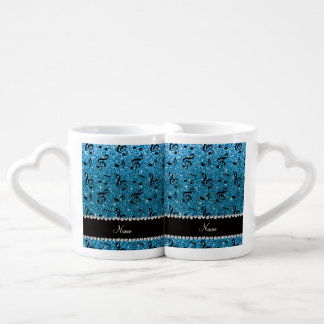 Personalized name sky blue glitter music notes couples coffee mug