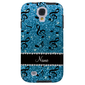 Personalized name sky blue glitter music notes galaxy s4 case