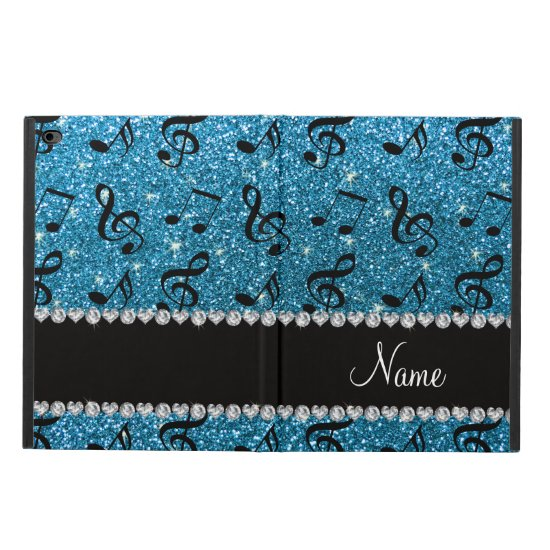Personalized name sky blue glitter music notes powis iPad air 2 case