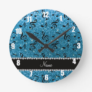 Personalized name sky blue glitter music notes round clock