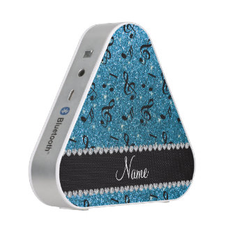 Personalized name sky blue glitter music notes speaker