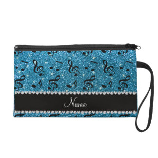Personalized name sky blue glitter music notes wristlet