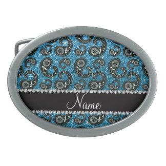 Personalized name sky blue glitter paisley oval belt buckle