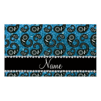 Personalized name sky blue glitter paisley business card template