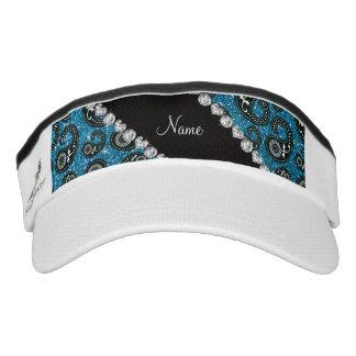 Personalized name sky blue glitter paisley headsweats visor