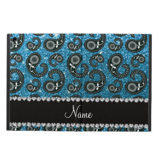 Personalized name sky blue glitter paisley iPad air cover