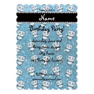 Personalized name sky blue glitter pandas 5x7 paper invitation card