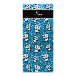 Personalized name sky blue glitter pandas full color rack card