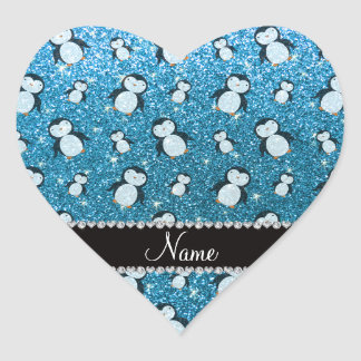 Personalized name sky blue glitter penguins heart sticker