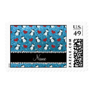 Personalized name sky blue glitter penguins hearts postage