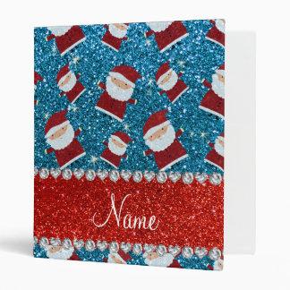 Personalized name sky blue glitter santas vinyl binder