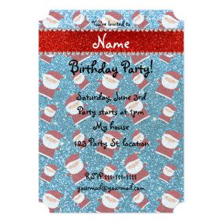 Personalized name sky blue glitter santas 5x7 paper invitation card