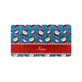 Personalized name sky blue glitter santas address label