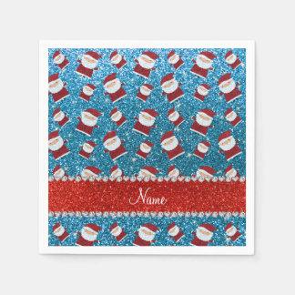 Personalized name sky blue glitter santas disposable napkins