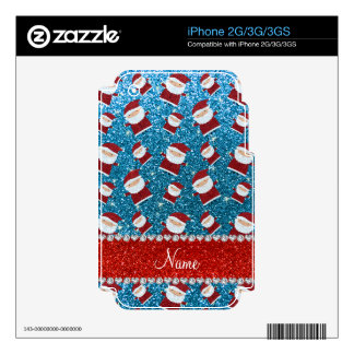 Personalized name sky blue glitter santas skins for iPhone 3GS
