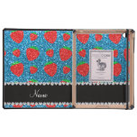 Personalized name sky blue glitter strawberry iPad cases
