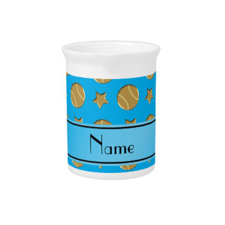 Personalized name sky blue gold baseballs stars pitchers