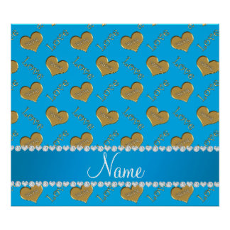 Personalized name sky blue gold hearts mom love poster