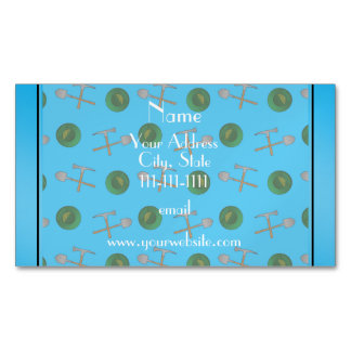 Personalized name sky blue gold mining magnetic business cards (Pack of 25)