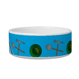 Personalized name sky blue gold mining pet food bowl