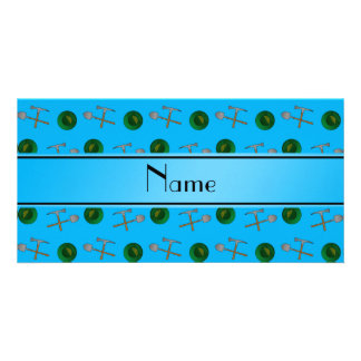 Personalized name sky blue gold mining customized photo card