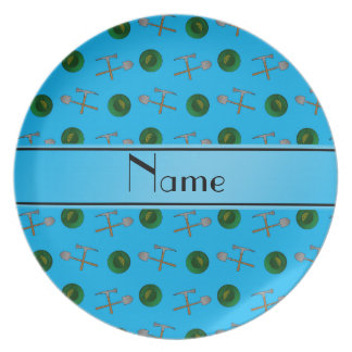 Personalized name sky blue gold mining party plates