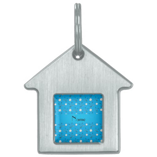 Personalized name sky blue golf balls pet ID tags