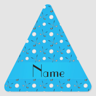 Personalized name sky blue golf balls triangle stickers