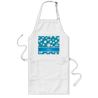 Personalized name sky blue golf balls tees hearts long apron