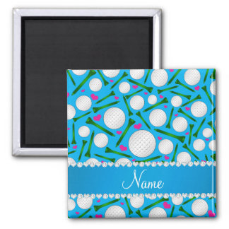 Personalized name sky blue golf balls tees hearts 2 inch square magnet